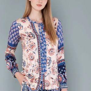 Hale Bob Akira boho print tie long sleeve blouse